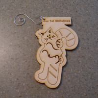 Personalized cat and  candy cane Christmas tree ornament plywood engraved