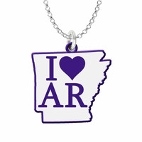 I Love Arkansas Silver State Necklace with Color Accent
