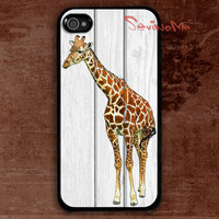 iPhone 4 Case, iPhone 4s Case, Giraffe iphone 4 case, white wood pattern iPhone 4 Hard Case, iPhone Case