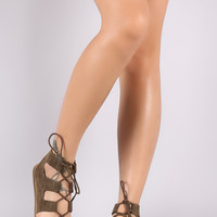 Bamboo Suede Lace Up Gladiator Flat Sandal