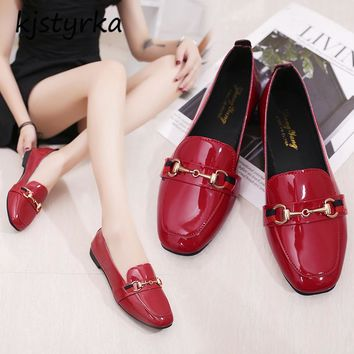 Brand designer women mules ladies slides fashion metal loafers shoes Patent leather ladies flats zapatos mujer