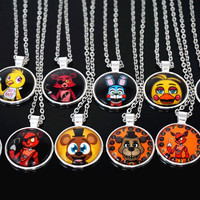 5 Five Nights at Freddy's Necklace Toys FREDDY FAZBEAR Scrabble Tile Pendant necklace glass cabochon children christmas gift