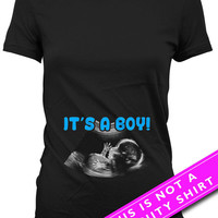 Pregnancy Announcement T Shirt Pregnancy Reveal Baby Announcement It's A Boy Baby Boy Gifts New Baby Gift Mother To Be Ladies Tee MAT-624