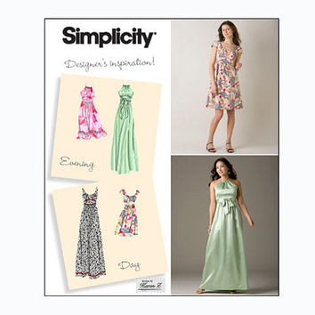 Evening Cocktail Day Dress Halter or Scoop Neckline Sleeveless Cap Sleeves Simplicity 2579 Bust 29.5-30.5-31.5-32.5-34 UNCUT Sewing Patterns