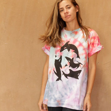 tie dye ORCA WHALE bright oversize shirt