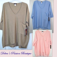 Kerisma Raven Slouchy Knit Sweater Pocket Top-Taupe, Light Blue, Blush