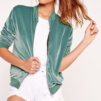 Missguided - Velvet Bomber Jacket Green