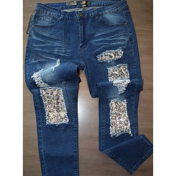 Silver Sequin Leopard Patch Jeans Curvy Girl