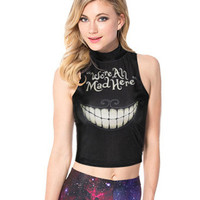Letter Teeth Print Sleeveless Cropped Tank