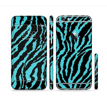 The Vector Teal Zebra Print Sectioned Skin Series for the Apple iPhone 6s