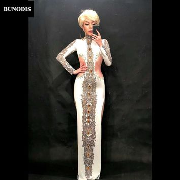 BU173 Women Sexy White Long Skirt Big Yellow Glass Sparkling Crystals Nightclub Party Banquet Clothing Stage Wear Singer Costume