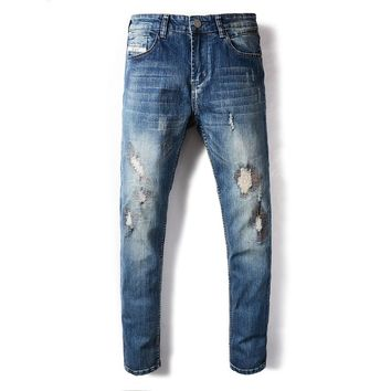 DSEL Brand Mens Jeans Blue Color Summer Style Frayed Hole Patchwork Ripped Jeans For Men Elastic Stretch Skinny Jeans Pants