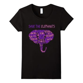 Save The Elephants T-Shirt - Animal Rights Shirt Short Sleeve O Neck Tee Shirt Homme Hort Leeve O Neck T Shirt Hipster