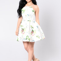Spring Time Floral Dress - White/Floral