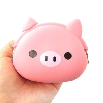 Piggy Piglet Pig Shaped Mimi Pochi Animal Friends Silicone Clasp Coin Purse Pouch