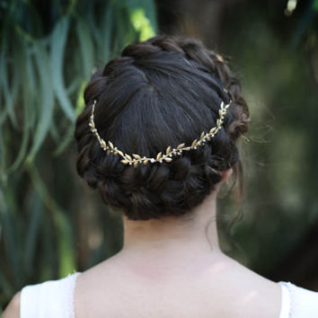 Venus Vines & Pearls Wreath, Gold Leaf Headband, Gold Tiara, Forehead Band, Bohemian Bridal Hair Accessory, Wedding Head Piece, Bridal Tiara