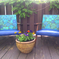 Set of  Two Retro Blue, Aqua & Turquoise Floral Vinyl Chairs - Local Pickup Only