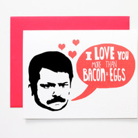Funny Valentine - Ron Swanson Parks and Recreation Funny Love Card