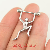 climb nipple ring, Nipple Jewelry Barbell 316L 14ga Piercing,gypsy industrial barbell,friendship gift