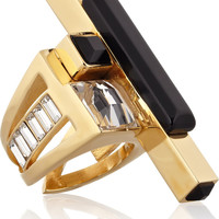 Emilio Pucci|Gold-tone crystal and resin ring|NET-A-PORTER.COM