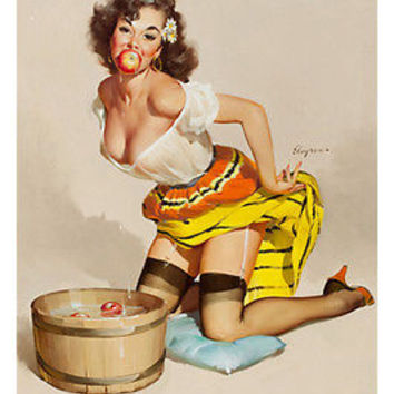 VINTAGE SEXY pin-up GIRL catching apple from bucket poster 24X36 PROVOCATIVE