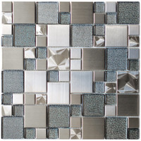 Eden Mosaic Tile Modern Cobble Stainless Steel With Silver Glass Tile - EMT_501-MIX-BM