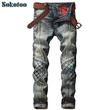 Sokotoo Men's vintage patchwork denim jeans Fashion slim patch hole ripped straight pants Long trousers