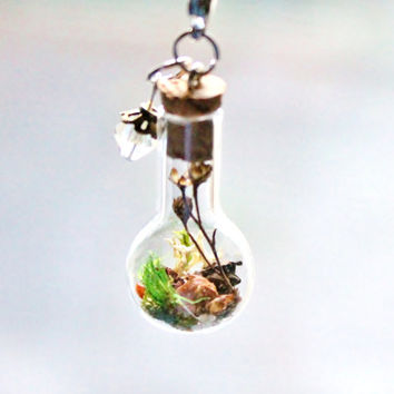 Terrarium Necklace Mini Glass Bottle Autumn Pinecones Flowers and Moss