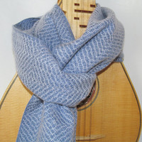Monet's Garden Water Lilies-- Handwoven Scarf in Soft Blue Tencel and Cashmere