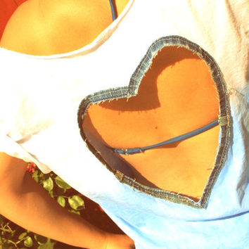 Upcycled Blue Ombre Denim Heart Cropped Shirt