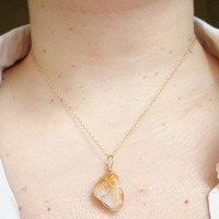 Wire Wrapped Citrine Pendant 14K Gold Filled Necklace Bohemian Necklace november birthstone Healing Stone