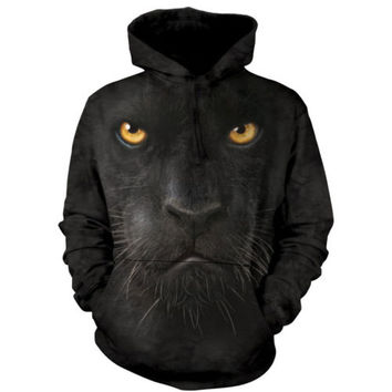 The Mountain Big BLACK PANTHER FACE HOODIE Pullover Hooded Sweatshirt S-2XL NEW