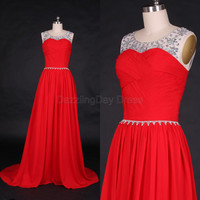 Red Chiffon Bridesmaid Dress Beading Rhinestone Long prom Dress A-line long Prom Dresses with Train - Bridesmaid Dresses
