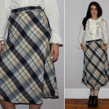Vintage 70s HIGH WAISTED PLAID Skirt / Wool, School Girl Skirt / A-Line, Below the Knee / Navy Blue, Baby Blue, Cream, Taupe Plaid / Small