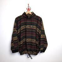 vintage pullover sweater. tribal design. oversized fleece.