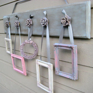 Collage Frame Display rack, cottage chic decor, five chippy paint frames on chippy painted rose knobs
