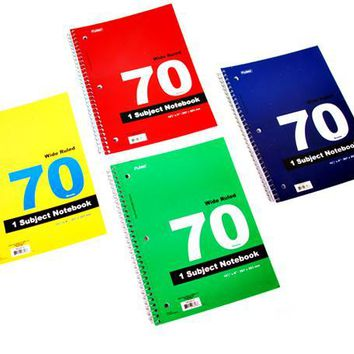 1 Subject Spiral Notebook - 70 Sheets Wide Ruled (Style #674) - CASE OF 48