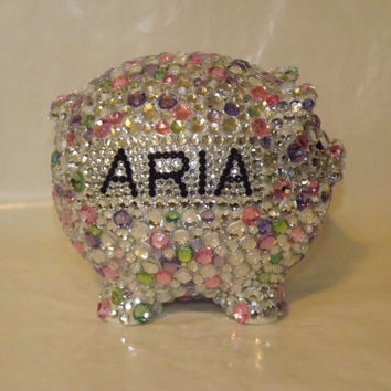 Rhinestone Bling CUSTOM Large Piggy Bank Personalized