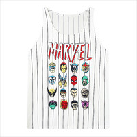 White Marvel Hero Striped Mesh Tank Top