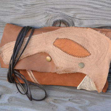 Rustic Leather Clutch - Upcycled Leather Small Purse - Leather Clutch Purse - Vintage Inspired