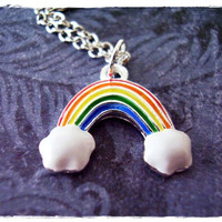Rainbow Necklace - Rainbow Enameled Silver Pewter Rainbow Charm on a Delicate 18 Inch Silver Plated Cable Chain