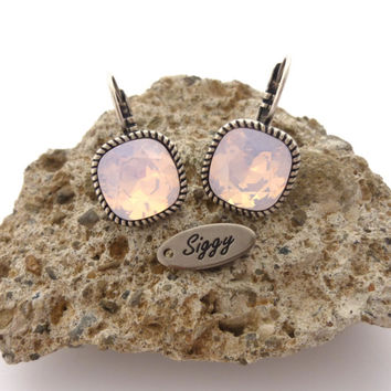 Swarovski crystal cushion cut earrings, Rose water opal or **Pick-A-Color** 12mm, bridesmaids gift, Siggy Jewelry