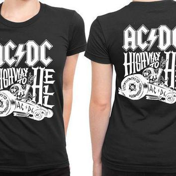 MDIG1GW ACDC Highway To Hell Black And White 2 Sided Womens T Shirt