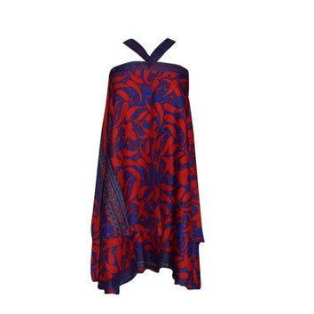Womens Magic Wrap Skirts Blue /Red Two Layer Reversible Silk Sari Printed Halter Dress - Walmart.com