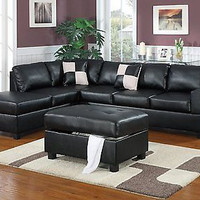 3-Piece Sectional Sofa, Black Decor Living Room Comfort New Free Ship