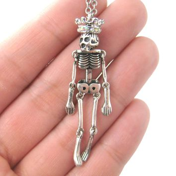 Unique and Fun Skeleton Bones Shaped Moveable Pendant Necklace With Crown Details