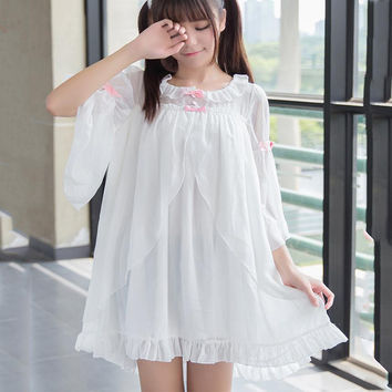 Summer Women Lolita sleepwear dress Chiffon Mini dress Korea Fashion Cute Lovely Suspender Kawaii sleep dresses Girl Outfit Z233
