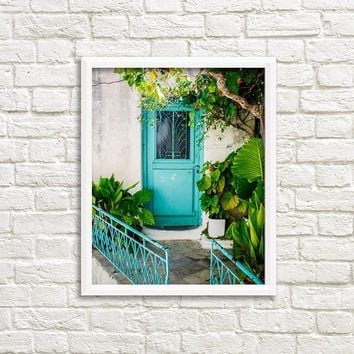 Door photography, Greece photography wall art, travel print, tropical leaves, tropical leaf print, botanical print, fine art photography