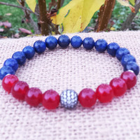 Men's Bracelet, Men Gemstones Bracelet, Lapis Bracelet Ruby Jade Bracelet Men Beaded Mala 18 K Gold Plated CZ Zirconia Ball Bead Bracelet