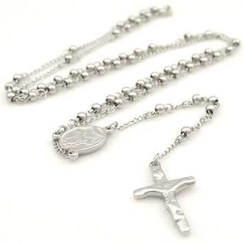 Stainless Steel Necklace Men Jewelry or Women Catholic Rosary Beads Chain Necklace Cross For Christmas Gift 4mm 6mm WRN05